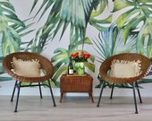 Vintage Wicker Chair - Wicker and Iron Scoop Chairs - Saucer Chairs - Slice Hoop Chairs - Round Wicker Chairs - Iron Legs - Boho Style