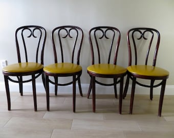 Vintage Bentwood Thonet Style Chair (3 Available) - Bistro Cafe Chairs - Dining Chairs - Vinyl Seats