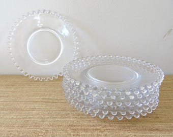 "Vintage Candlewick Bread and Butter Plates - 6 1/2"" Dessert Beaded Clear Glass Plates (Set of 4)"