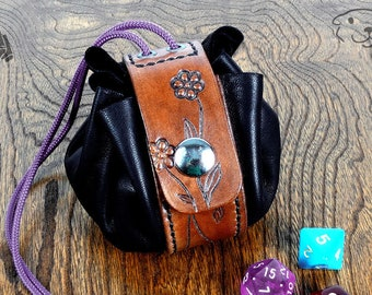 Leather Dice Bag - Flowers - Handmade OOAK Pouch