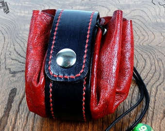 Red & Black Leather Dice Bag - Handmade OOAK Pouch