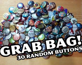 666826b2037 Pop Culture Button Grab Bags... 30 Random Pins....Recycled Art