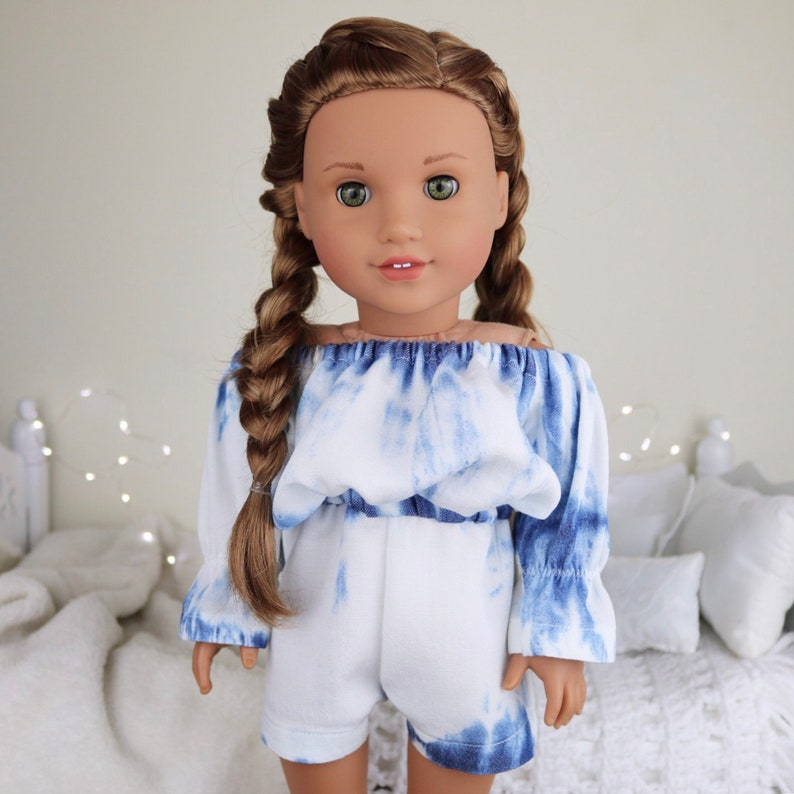 white /& blue romper tie dyed look. 18 inch doll acid wash romper