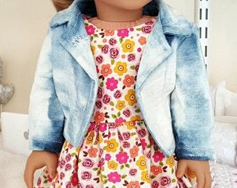 18 inch doll acid wash jacket
