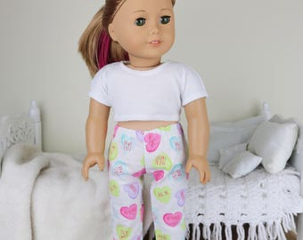 "18 inch doll valentine pajama pants   ""conversation hearts"" print pajama pants"