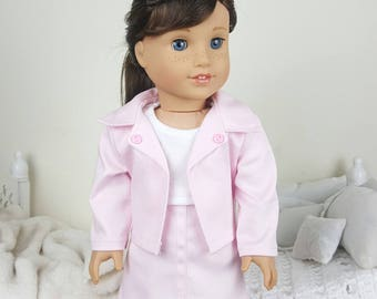 18 inch doll pink jacket & skirt | light pink jacket