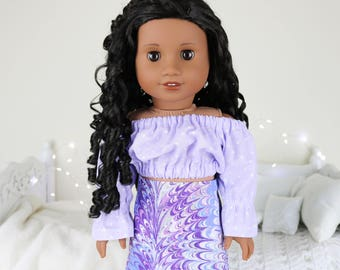 18 inch doll purple peasant blouse   polka-dot cop top   color of the year