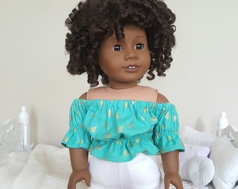 18 inch doll turquoise peasant blouse   lady bug crop top