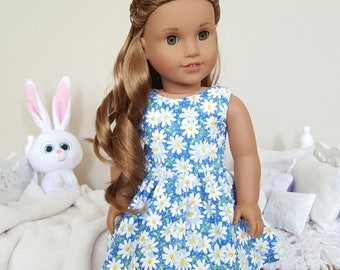 18 inch doll daisy print dress | blue floral dress