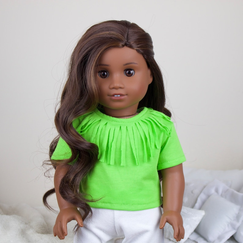 green distressed shirt purple 18 inch doll T-shirts blue tees white ripped jeans