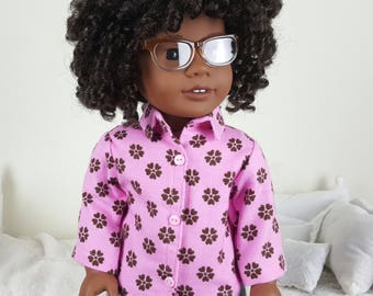 18 inch doll pink & brown floral shirt | flannel shirt