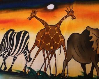 "African Batik - Zebra, Elephant, and Giraffes on the Ugandan Savanna (29"" by 14"")"