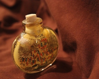 """Chinese Bottle - Traditional Village with Busy Market (2"""")"""