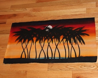 """African Batik: Palm Trees on the Savanna (29.5"""" by 16"""")"""