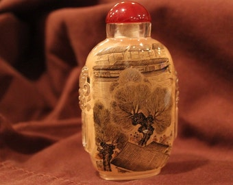 """Chinese Bottle - Traditional Village with People in Market (3.25"""")"""