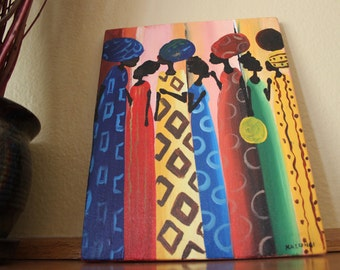 """African Canvas Painting: Elegant African Women with Multicolor Background (7"""" x 9.25"""")"""