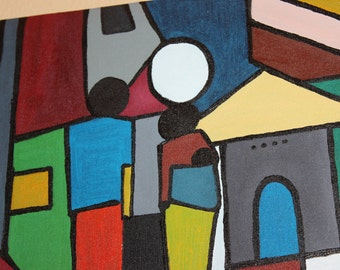 """African Canvas Painting: Bright Modern Africa (11"""" by 14"""")"""