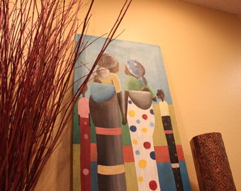 """African Canvas Painting: Women carrying their children (13.4"""" by 26.5"""")"""