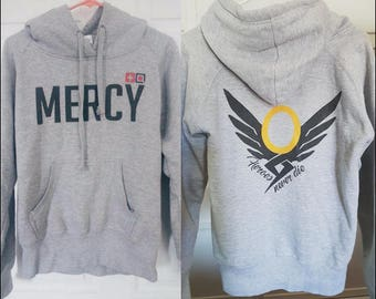 f642d3cf5 Overwatch - Mercy - Small - Women's Military Style Hooded Sweatshirt -