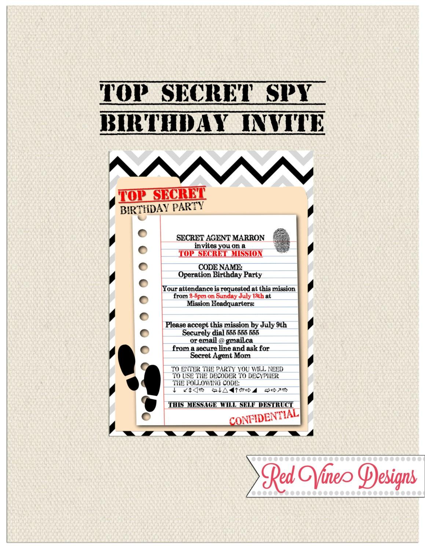Spy Birthday Invitation   Etsy
