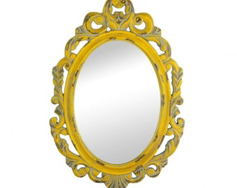 Vintage Yellow Mirror - Decorative Mirror - Home Decor - Shabby Chic Mirror - Vintage Mirror - Ornate Mirror - Painted Mirror
