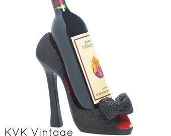 Black Peep Toe Pump Wine Holder - Wine Storage - Wine Racks - Kitchen - Dining - Wine Bottle Holder - Shoe Wine Holder