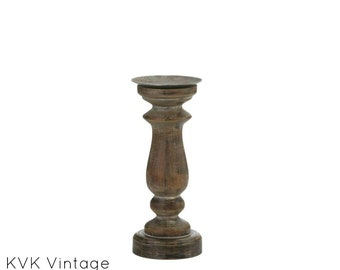 Short Antique-Style Wooden Candle Holder - Candle Stand - Wooden Candle Holder - Candle holder - Home Living - Home Decor