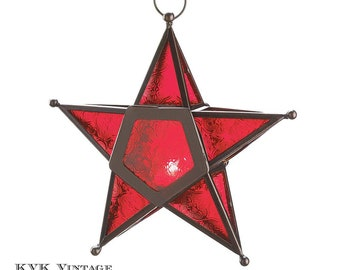 Red Glass Star Lantern - Lighting - Lanterns -  Holiday Decor - Holiday Accents - Candle holders - Christmas Lanterns - Star Lantern