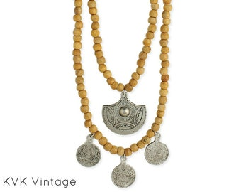 Light Wood Bead & Silver Coin Necklace - Bohemian Necklace - Ethnic Necklace - Wood Necklace - Wooden Necklace - Coin Necklace