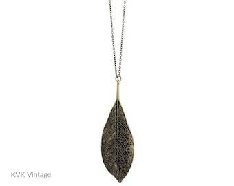 Antique Gold Leaf Necklace - Leaf Pendant - Nature Necklace - Bohemian Jewelry