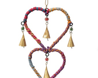 BOHO Fabric Wrap Chime - Wind Chimes - Chimes - Recycled Metal - Garden Decoration - Fair Trade -  Home Decor - Metal Chime - Heart Chime
