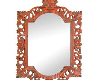 Vintage Coral Mirror - Decorative Mirror - Home Decor - Accent Mirror - Shabby Chic Mirror - Vintage Mirror - Ornate Mirror - Painted Mirror