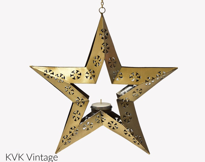 Featured listing image: Hanging Star Lantern - Fair Trade - Candle Holders - Star Lanterns