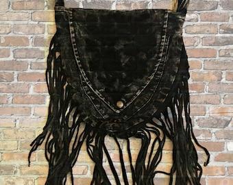 Stonewash Black Fringe Purse - Fringe Purse - Passport Purse - Stonewash Purse - Shoulder Bag - Cross-body Bag - Sling Bag - Fair Trade