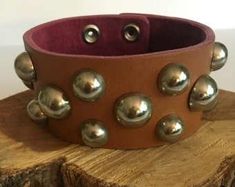 Brown Leather Stud Cuff Bracelet - Wristband - Cuff Bracelet - Brown Cuff Braclet - Leather Bracelet - Leather Cuff Bracelet - BOHO Bracelet