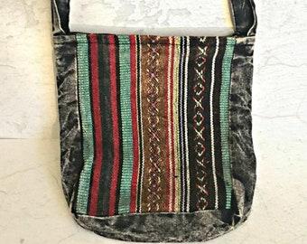 Woven Striped Cross-body Bag - Woven Cross-body Bag - Striped Sling Bag -  Woven Sling Bag - Passport Bag - Stonewashed Purse - Fair Trade