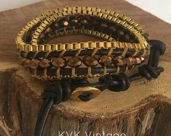 Leather and Crystal Wrap Fashion Bracelet - Wrap Bracelet - Leather Wrap Bracelet - Cuff Bracelet - Leather Bracelet - Crystal Bracelet