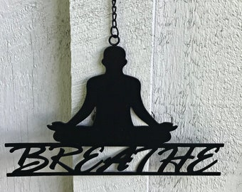 Breath Wall Art - Metal Breath Sign - Wall Hangings - Yoga Studio Decor - Wall Decor - Home Decor - Fair Trade - Recycled - Signs
