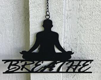 Metal Breath Wall Art - Wall Hangings - Yoga Metal Sign -  Home Décor