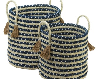 Braided Baskets With Tassels - Baskets - Storage - Organization - Home Decor - Braided Baskets - Set of Two Baskets