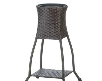Tuscany Wicker Plant Stand - Plant Stands - Brown Wicker Plant Stand - Plant Stand - Outdoor - Gardening - Home Decor