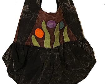 Black Floral Leaf Hobo Bag - Sling Bag - Fair Trade Bags - Bohemian Shoulder Bag