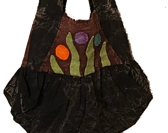 Featured listing image: Black Floral Leaf Hobo Bag - Sling Bag - Fair Trade Bags - Bohemian Shoulder Bag
