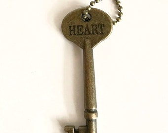 Inspiring Key Necklace (HEART) - Key Necklaces - Vintage Style Key Necklace - Stamped Key Necklace
