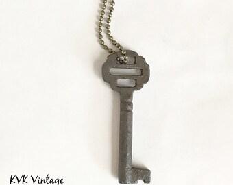 Vintage Skeleton Key Necklace (OPHELIA) - Old Key Necklaces - Gothic Key Necklace - Rustic Key Necklace
