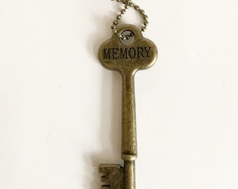 MEMORY Key Necklace - Vintage Style Key Necklace - Hand Stamped - Inspiring Necklaces