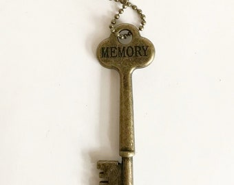 Vintage Style Stamped Key Necklace (MEMORY) - Key Necklaces - Hand Stamped Key Jewelry