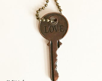 Inspiring Key Necklace (LOVE) -  Key Necklaces - Vintage Style Key Necklace - Stamped Key Necklace
