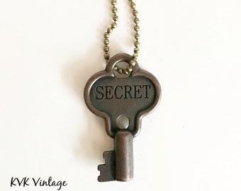 SECRET Key Necklace - Vintage Style Key Necklace - Hand Stamped - Inspiring Necklaces
