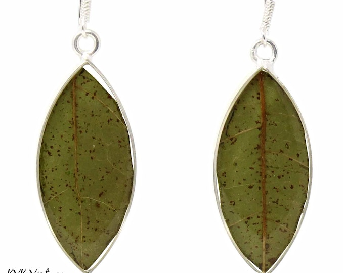 Featured listing image: Pressed Botanical Leaves Drop Earring - Dangle Earrings - Fair Trade Jewelry - Leaf Earrings